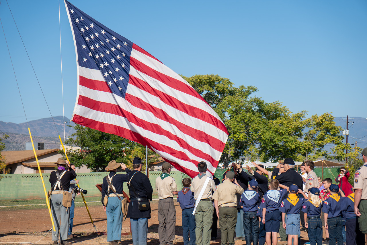 The flag rises over Fort Verde as the band plays the national anthem