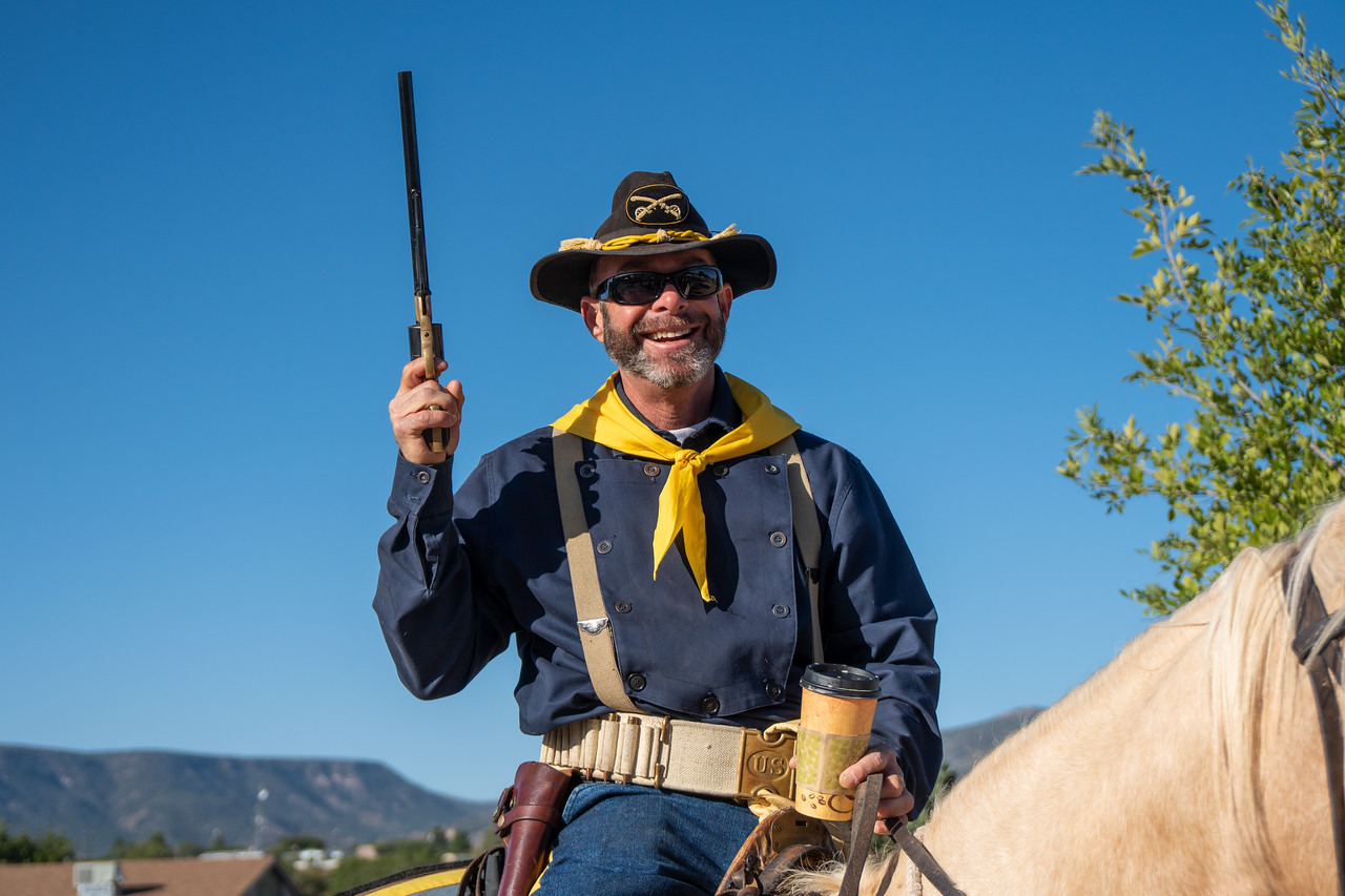 All a soldier ever needs. A good horse, a .44 revolver, and a cup of coffee
