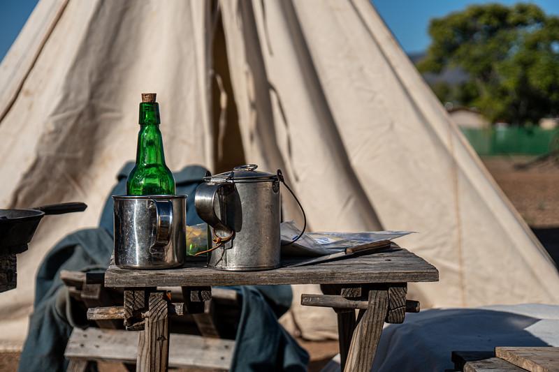 Reenacted U.S. Army campsite at Fort Verde Historic Park.