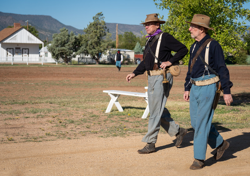 Reenactors getting ready for the festivities at Fort Verde