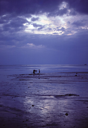 """Mother and Child on Sandbar at Dusk"" - Koh Phang-an, Thailand - 12""x18"" Print format (Already framed & double-matted; no photo yet available of finished piece)  [fxPM]"