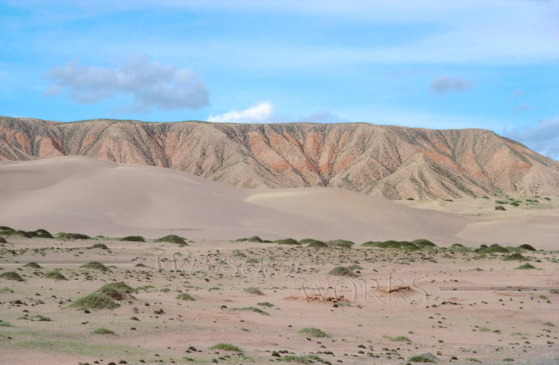 """Tranquil Sand Mountain in Qinghai Province, China--  part of Gobi Desert.  (Image caught on the train ride from Xining to Golmud)  - Large 12 x 18"""" Print"""