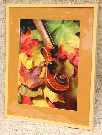 """Maple Violin Scroll on Autumn Maple Leaves"" (matted & framed; finished size 24 x 30"" - for sale)"