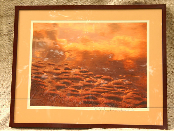 """Dawn Sand and Sea Reflections"", Hunting Island, SC (double-matted & framed; finished size 24 X 30""-- for sale)"