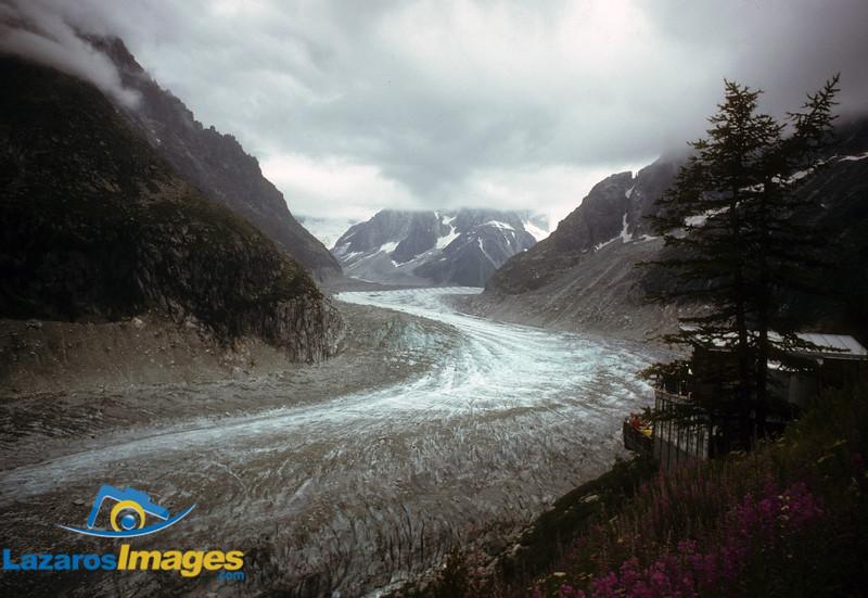 "Glacier ""snaking"" thru Alps,<br /> Mere de Glace, Chamonix"