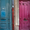 LILLE. RIJSEL. OLD BLUE AND RED DOOR IN THE CENTER OF THE CITY.