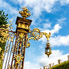 Ornate golden fence at the Place de la Carriere square in Nancy, France, Europe