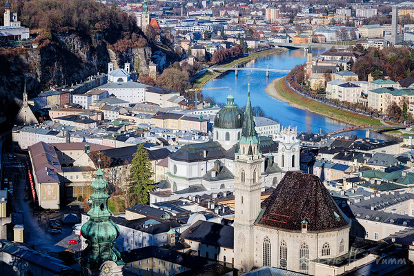 View of Salzach River and City, Salzburg, Austria