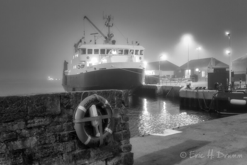 Foggy Evening at the Quai, Kirkwall, Orkneys, Scotland