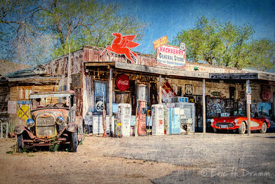 Red Corvette at the General Store, Route 66, Hackberry, Arizona