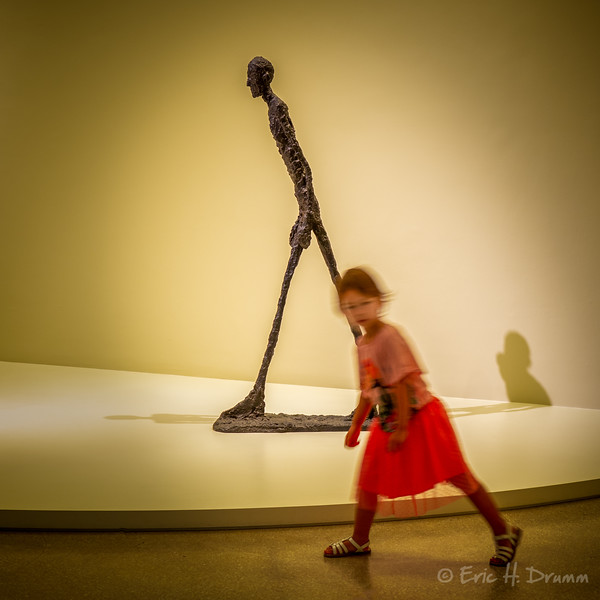 Giacometti Sculpture and Child, MOMA, New York City