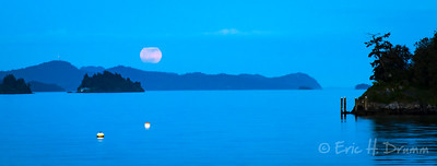 Supermoon over Ganges Harbour I, Salt Spring island, British Columbia