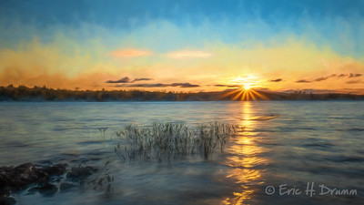 Painterly Sunset, Eagle Lake, Machar, Ontario