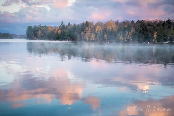 Pastel Sunrise Reflections, Eagle Lake, Machar, Ontario