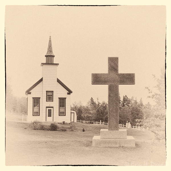 Old Church and Cross, Cape Breton, Nova Scotia