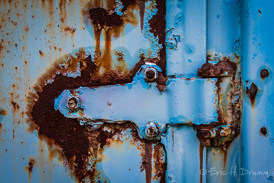 Rusted Hinge on Blue Truck, McLean's Auto Wreckers, Milton, Ontario