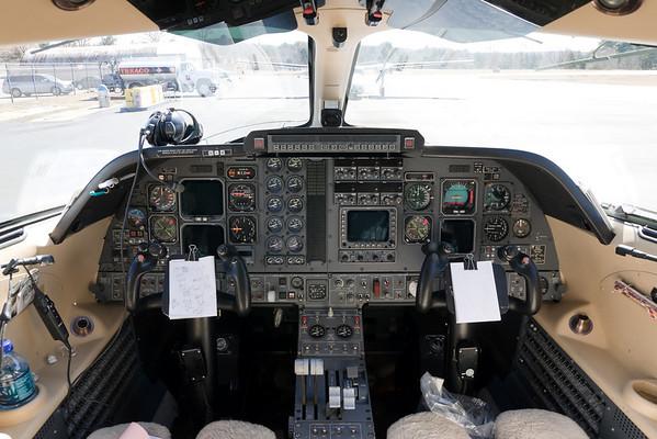 The cockpit of the Piaggio Avanti.