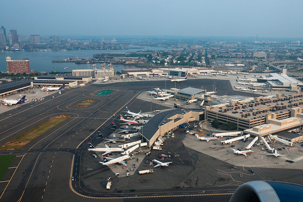 An overview of Terminals A and B at Logan.