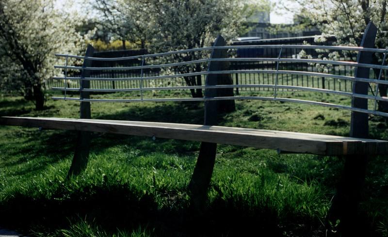 garden benche, galvanised steel & oak,  hulme 1993