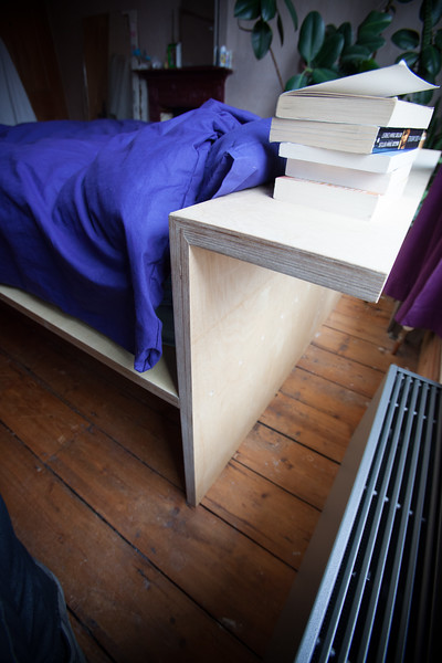 bed with storage beneath, reclaimed plywood 2017