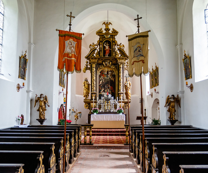 Interior and altar of the former parish church St Mariah at Herrenchiemsee island in Bavaria, South Germany, Europe