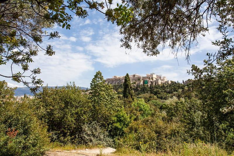 ATHENS. ANCIENT AGORA. VIEW AT THE ACROPOLIS.