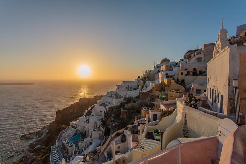 SUNSET. OIA. SANTORINI. GREECE.