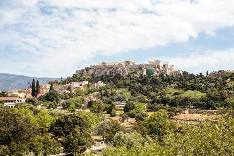 ATHENS. ANCIENT AGORA. VIEW AT THE ACROPOLIS. GREECE.