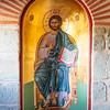 METEORA. INTERIOR OF THE AGIA TRIAS (HOLY TRINITY) MONASTERY. KATHOLIKEN.