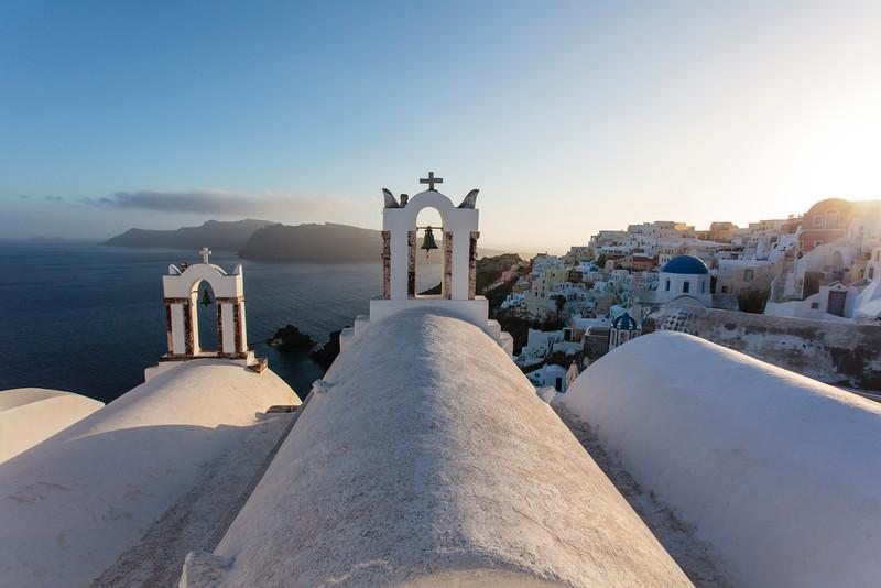 SANTORINI. OIA. IA. GREEK ORTHODOX CHURCHES. THE CYCLADES. GREECE.