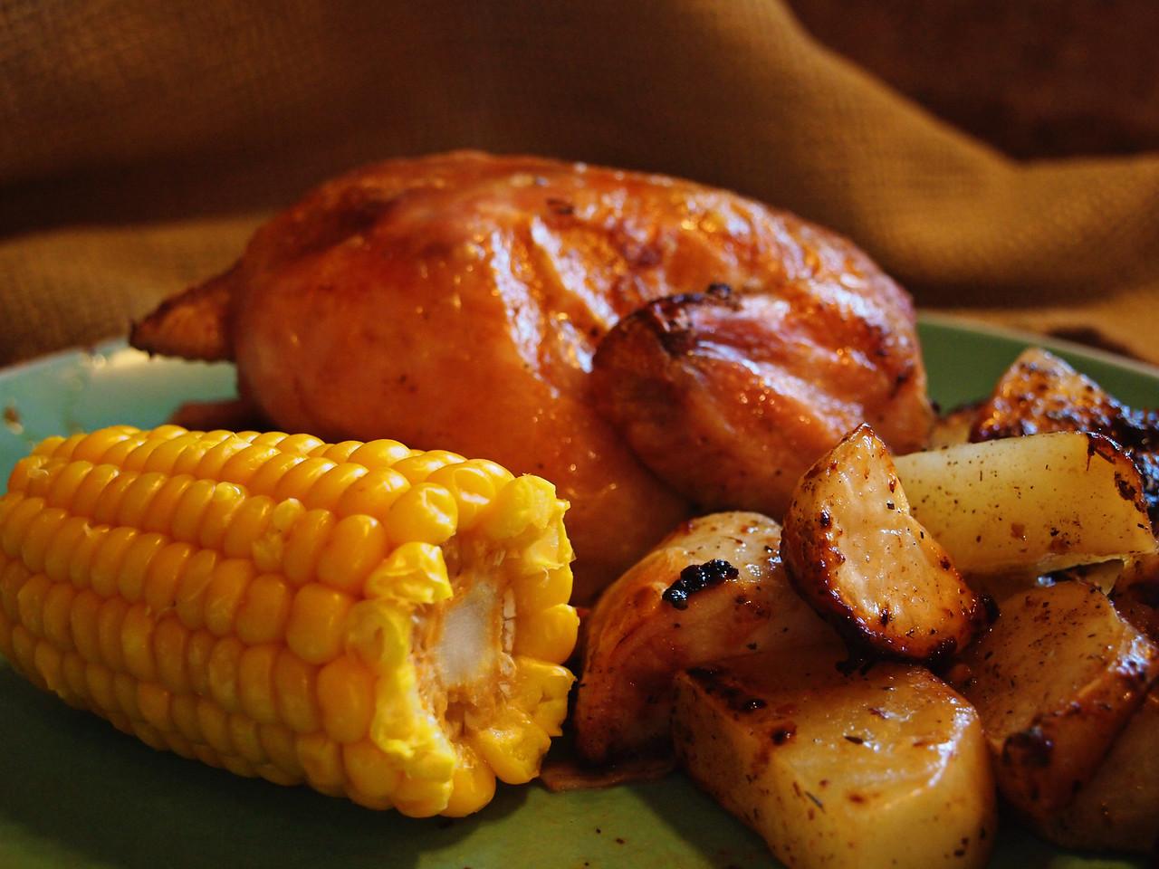 Cornish Hen with Corn and Potatoes  Order Code: B3