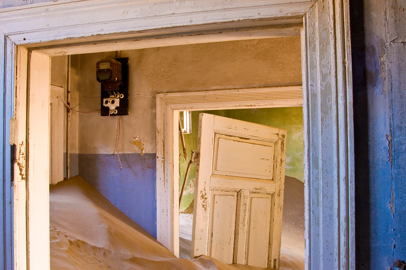 Desert sand taking over a house in the Kolmanskop area, Namibia