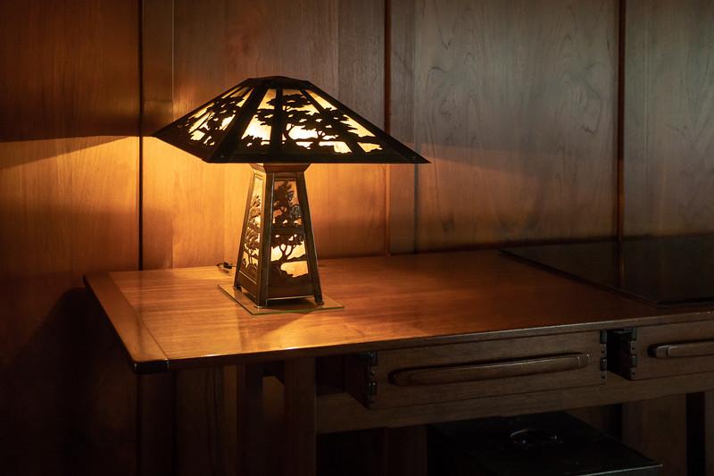 Lamp in reception hall with tree motif echoing front door design