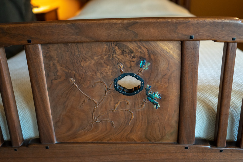 Black walnut wood inlay on footboard decoration