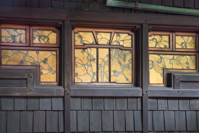 Exterior view of stained glass dining room windows