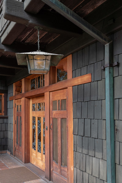 Gamble House front doors, with strong horizontal lines