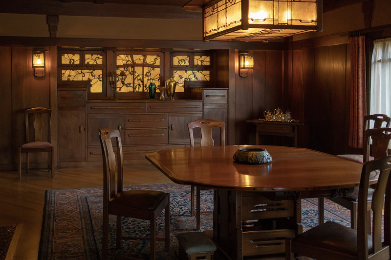 Mahogany table in the dining room,  Gamble House