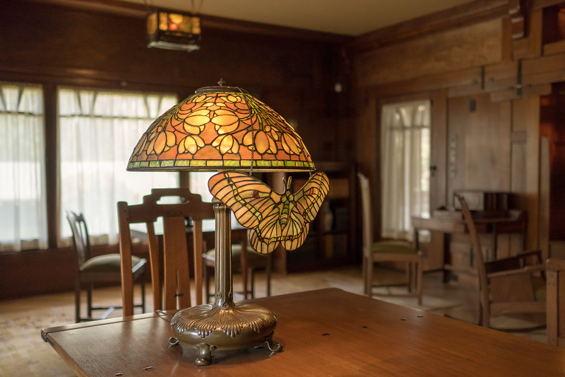"Tiffany Lamp in the ""family room"" at Gamble House"
