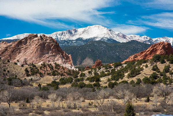 Snow-Capped Pikes Peak Between The Rocks