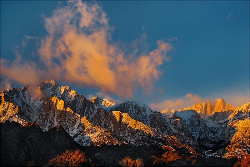 Winter Sunrise, Lone Pine Peak and Mt. Whitney, Eastern Sierra