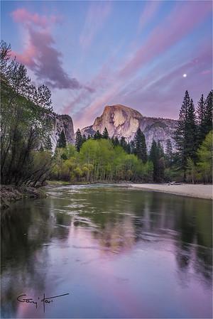 Spring Moon, Half Dome, Yosemite