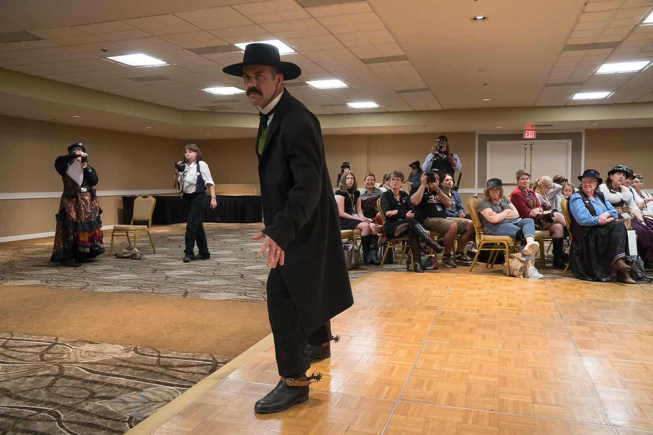 Wyatt Earp on the Fashion Show runway at the Gaslight Gathering