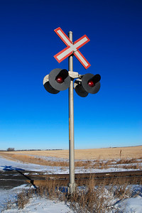 Railroad crossing lights east of Calgary, Alberta