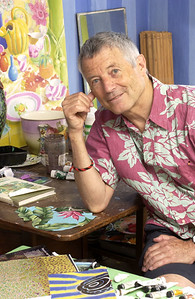 Famous textile designer, author and artist, Kaffe Fasset in his London studio