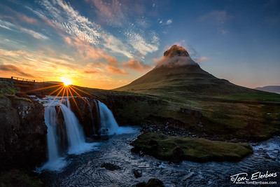 Midnight Sun at Kirkjufell, Snaefelsness Peninsula, Iceland