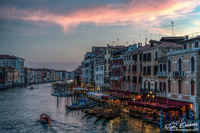 Sunset on the Grand Canal from the Rialto Bridge, Venice, Italy
