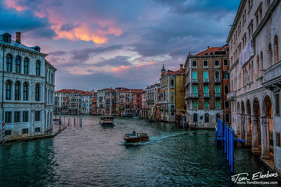 Sunset at the Grand Canal from the Rialto Bridge, Venice, Italy
