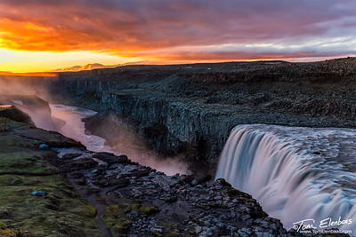 Midnight Sun at Detifoss, Iceland
