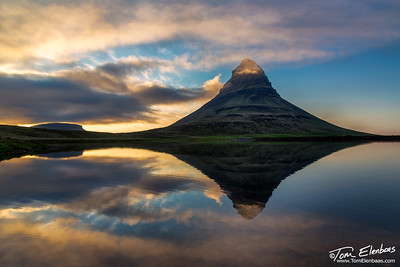 Midnight sunset at Kirkjufell Mountain on the Snaefelsness Peninsula, Iceland