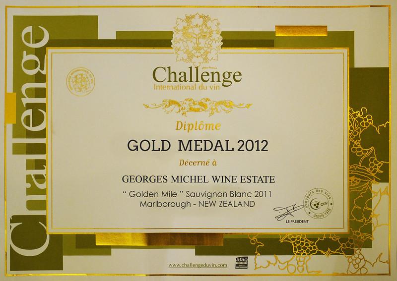 "Georges Michel 2011 ""Golden Mile"" Sauvignon Blanc<br /> <br /> Gold Medal International Wine Challenge 2012 . Bordeaux ( France)<br />  <a href=""http://www.georgesmichel.com/wines/awards-and-accolades/"">http://www.georgesmichel.com/wines/awards-and-accolades/</a>"